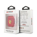 Ferrari AirPods case with ring - printed shield logo - rood