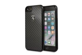Ferrari Zwart Back Cover voor iPhone 7 / 8 - Heritage Real Carbon