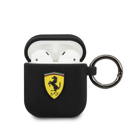 Ferrari AirPods case with ring - printed shield logo - zwart
