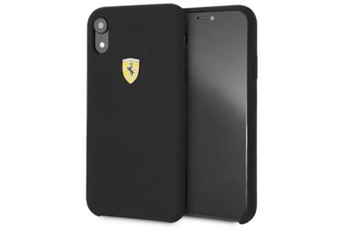 Ferrari Zwart Back Cover voor iPhone XR - SF Silicone