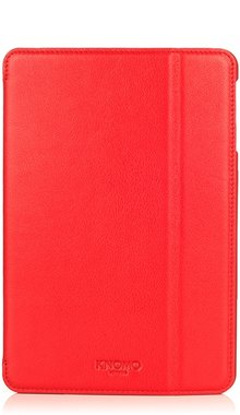 Knomo Folio Case Leather Scarlet Red voor iPad mini 1 t/m 3 Retina