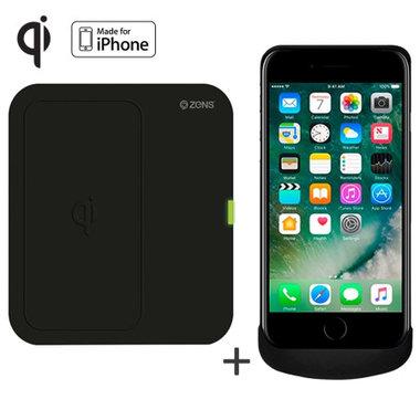 Draadloze oplader met draadloze oplaadcase van Zens Qi voor Apple iPhone 7 zwart (compatibele met 6/6S)