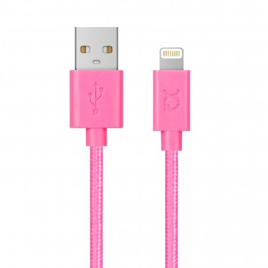 Xqisit Cotton Cable Lightning. 1,8m (roze)