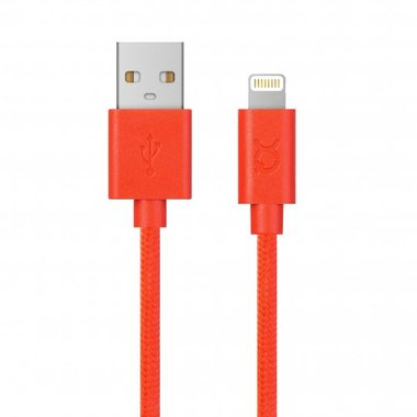 Xqisit Cotton Cable Lightning. 1,8m (rood)