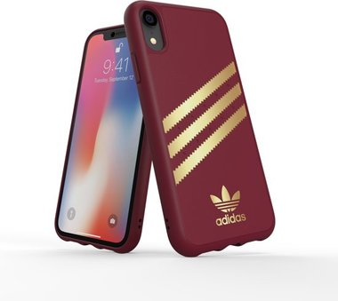 Adidas OR Moulded Case PU SUEDE voor iPhone XR collegiate burgundy / goud